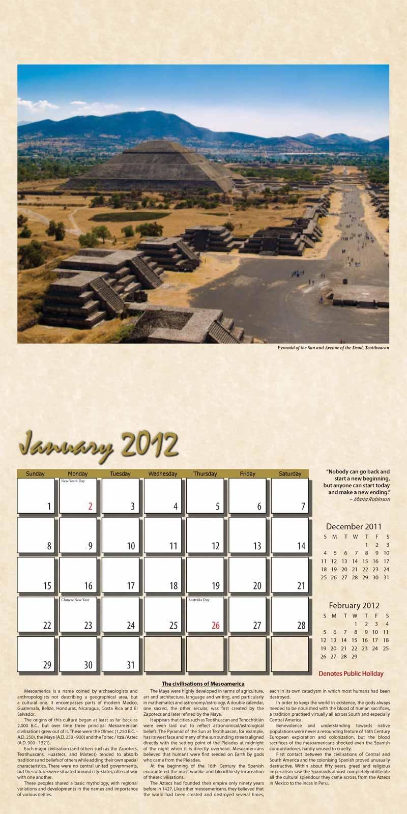 """2012 Eurythmia Calendar """"The Mayan Calendar"""" January spread"""