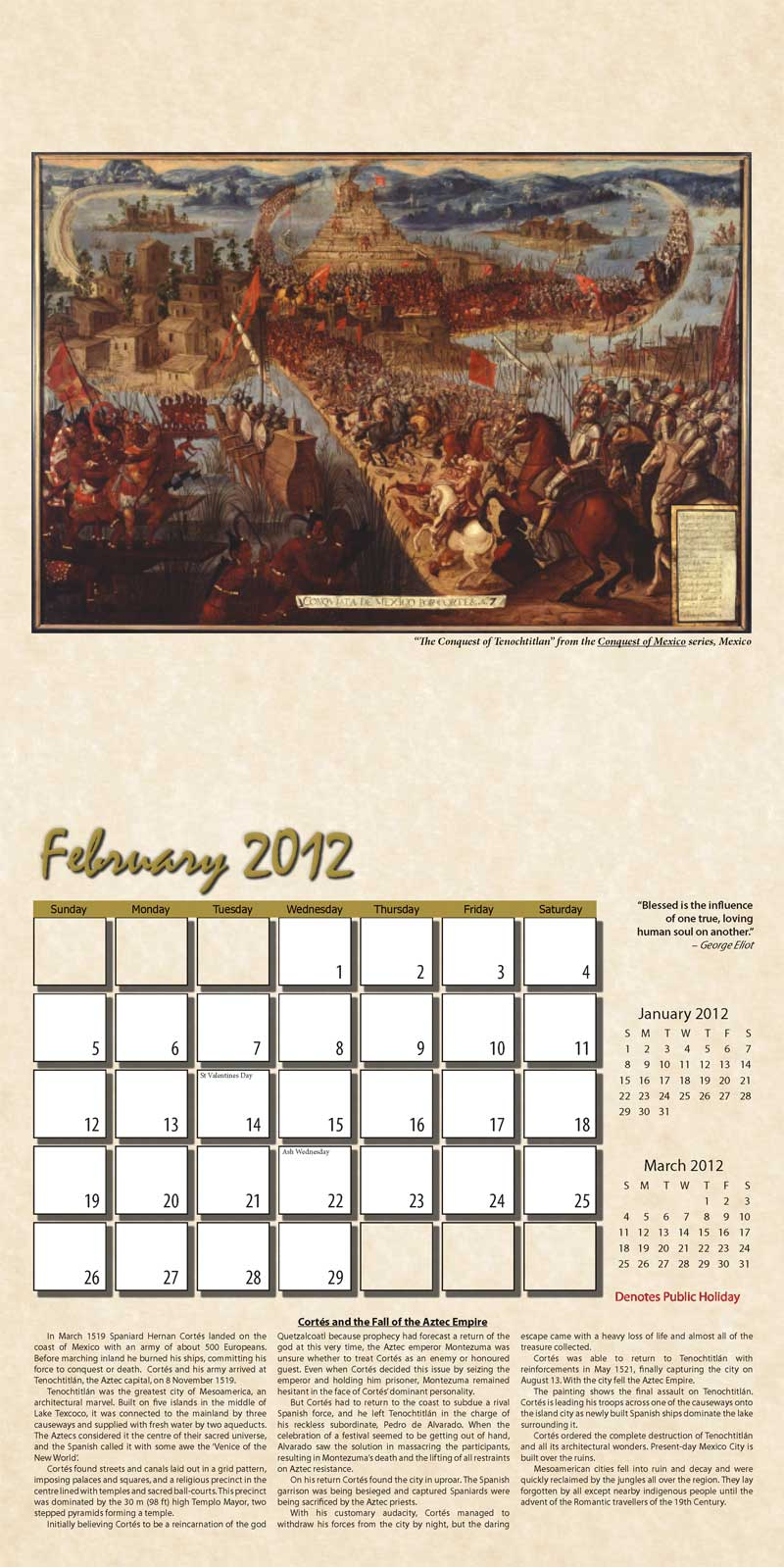 "2012 Eurythmia Calendar ""The Mayan Calendar"" February spread"