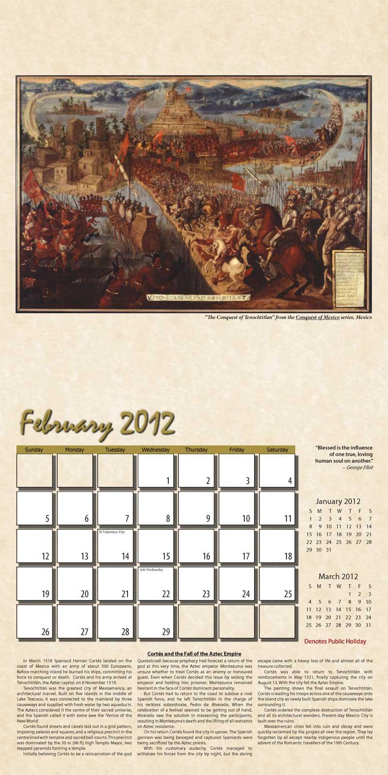 """2012 Eurythmia Calendar """"The Mayan Calendar"""" February spread"""