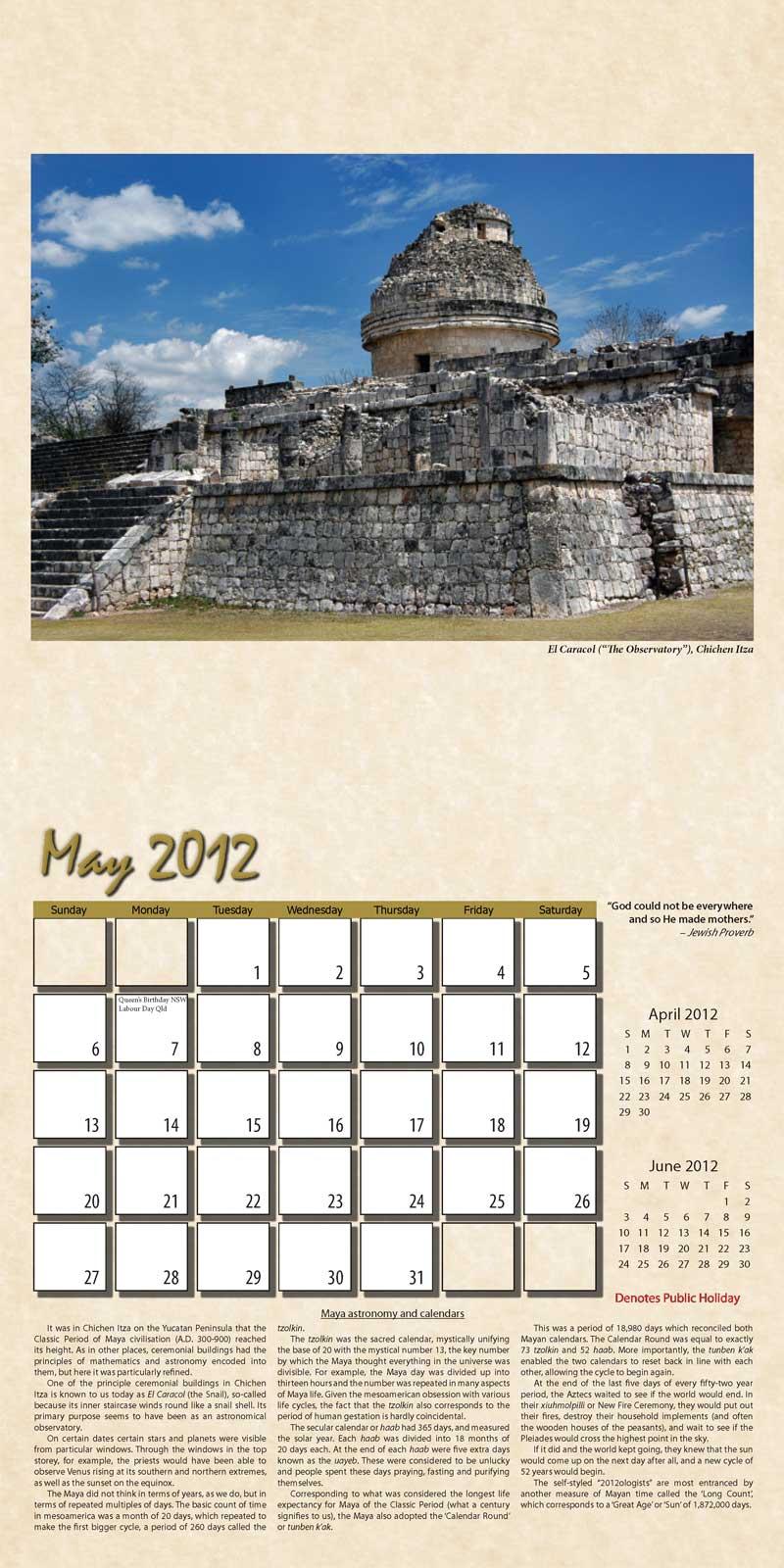 "2012 Eurythmia Calendar ""The Mayan Calendar"" May spread"
