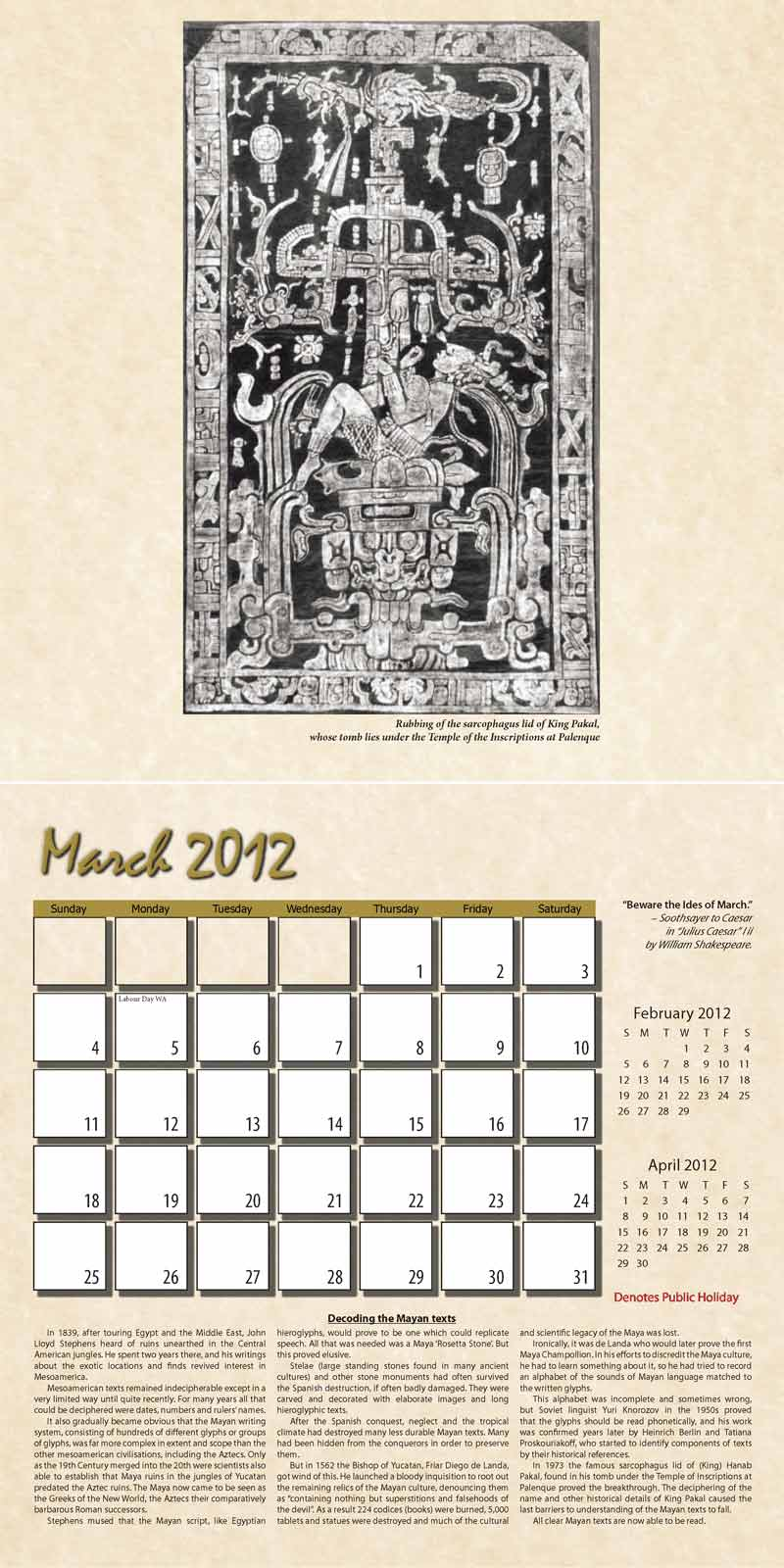 "2012 Eurythmia Calendar ""The Mayan Calendar"" March spread"