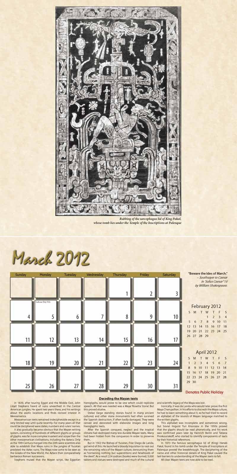 "2012 Eurythmia Calendar ""The Mayan Calendar"" March spread"