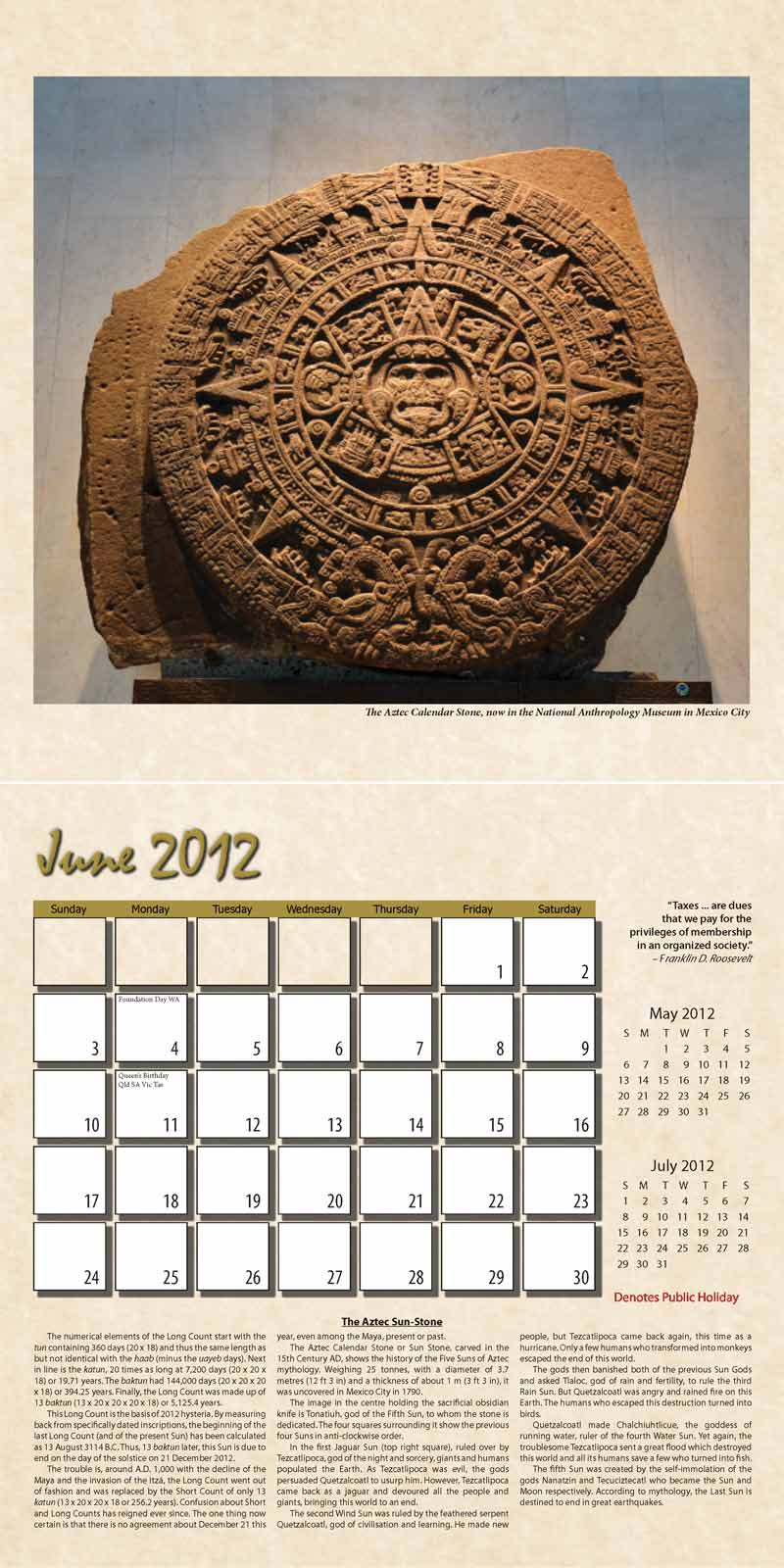 "2012 Eurythmia Calendar ""The Mayan Calendar"" June spread"