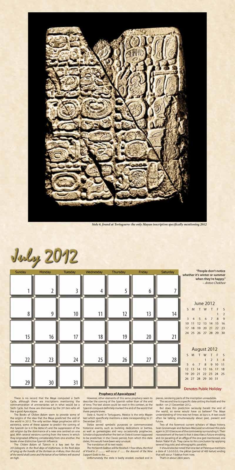 """2012 Eurythmia Calendar """"The Mayan Calendar"""" July spread"""