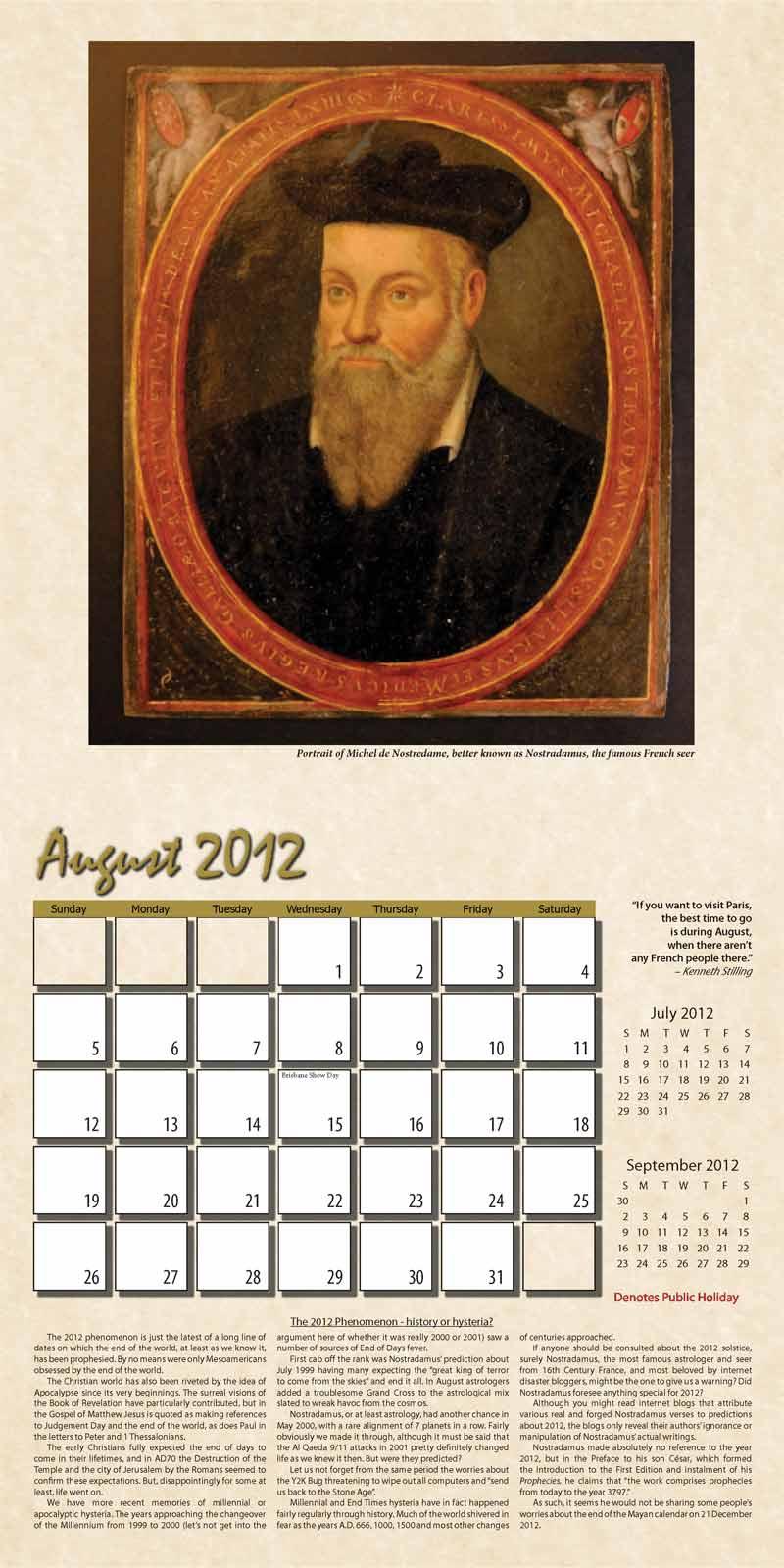 """2012 Eurythmia Calendar """"The Mayan Calendar"""" August spread"""