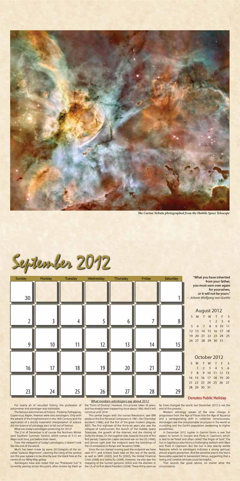 "2012 Eurythmia Calendar ""The Mayan Calendar"" September spread"