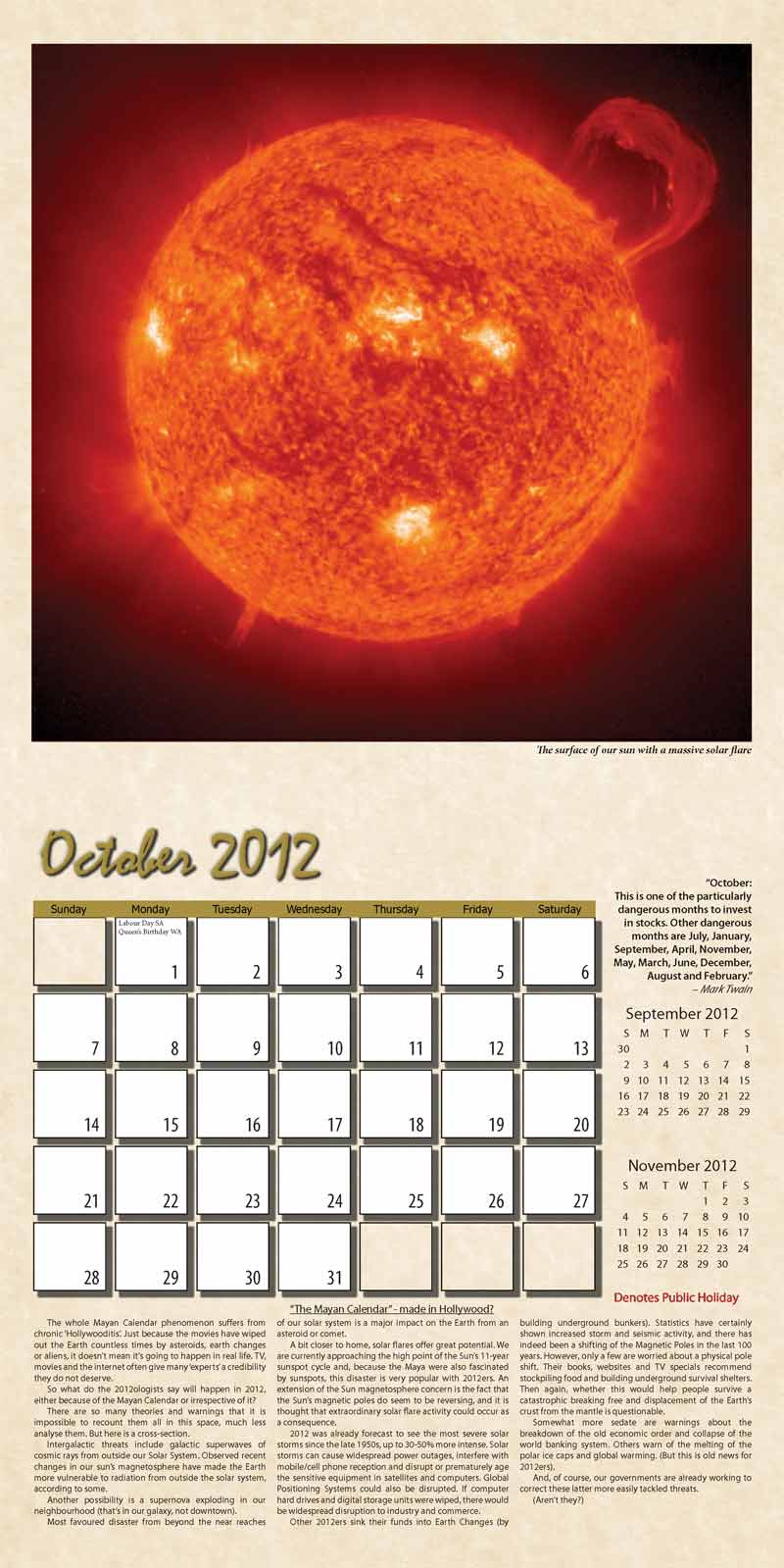 "2012 Eurythmia Calendar ""The Mayan Calendar"" October spread"