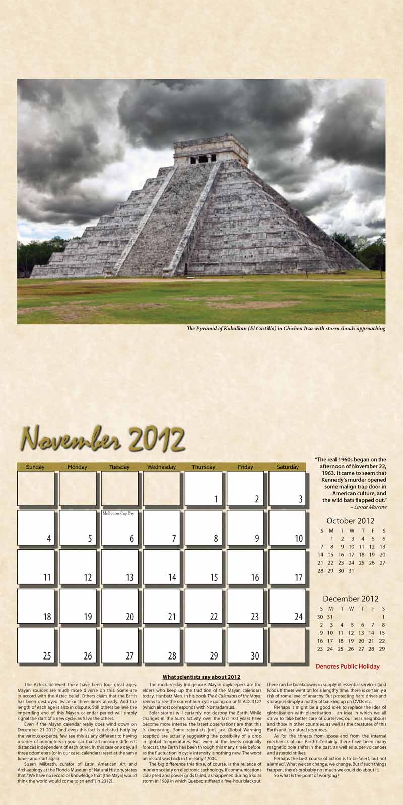 "2012 Eurythmia Calendar ""The Mayan Calendar"" November spread"