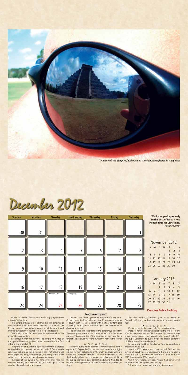 "2012 Eurythmia Calendar ""The Mayan Calendar"" December spread"