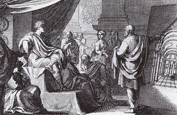 A 1684 depiction of Vitruvius presenting his book De Architectura to Emperor Augustus