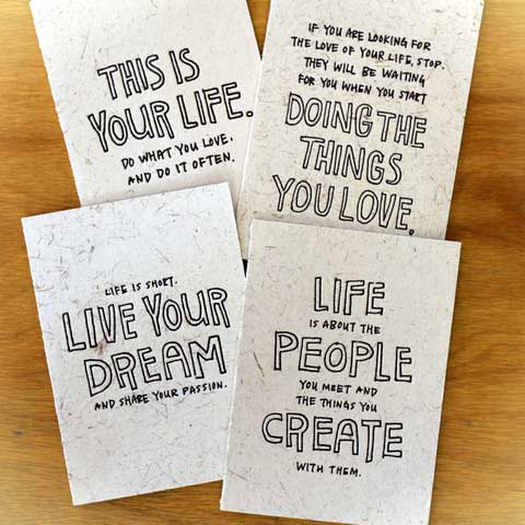 Set of 4 cards by Yoko
