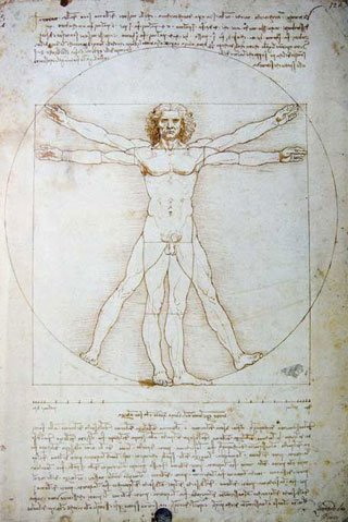 Leonardo da Vinci's Vitruvian Man - symbol of golden proportion