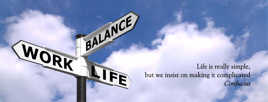 "Life is really simple: Confucius quote with image of signpost showing the words ""Work"", ""Life"" and ""Balance"""